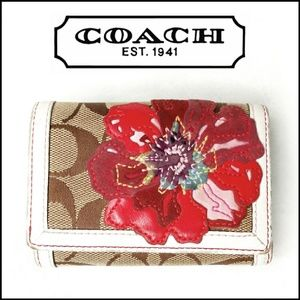 Coach Embroidered Flower Signature Tri Fold Wallet